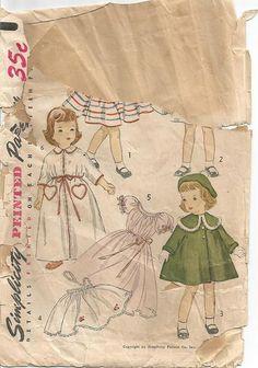 1950s Doll Clothes Pattern Toni Doll Wardrobe 21 Inch by kinseysue