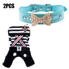 Spring Autumn Sailor Stripes Straps Clothes for Small and Medium-sized cat Dog and Elegant Collar -- Hurry! Check out this great product (This is an amazon affiliate link. I may earn commission from it)
