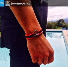from --- Wearing my new bracelet. What's your color? Red Black, Bracelets, Leather, How To Wear, Color, Jewelry, Bracelet Watch, Watches, Jewlery
