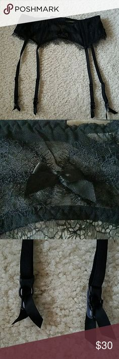 victoria secret lace garter belt lace garter belt from victoria secret! very sexy! never worn. but dont have tags. size xs to s. has 3 levels like a bra. victorias secret Intimates & Sleepwear
