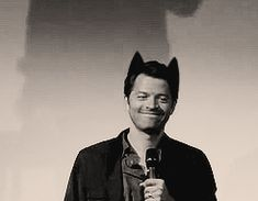Misha Collins is a bashful kitty because reasons. #Supernatural #kittyears animated gif
