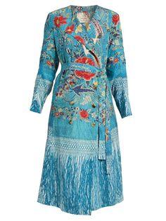 By Walid Bertie collarless silk crepe de Chine coat