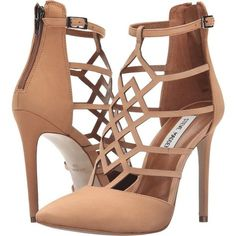 Steve Madden Sonillo (Tan Nubuck) High Heels ($78) ❤ liked on Polyvore featuring shoes, pumps, tan, tan pumps, pointy toe ankle strap pumps, ankle strap high heel pumps, pointed toe shoes and high heel pumps