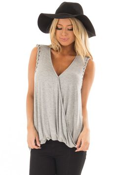 97e73923ac07d Lime Lush Boutique - Heather Grey Surplice Tank Top with Front Twist