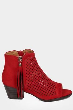 Faux Suede Perforated Chunky Heel Bootie