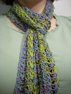Sensational Scarf This scarf is a lot of fun to make. It works up very quickly, and is so pretty when it's done! Hook: 4.25MM Yarn: 1 skein ...