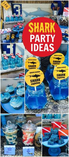 This shark theme is perfect for a pool party! See more party ideas at CatchMyPar. - Under the Sea Party Ideas - Summer Birthday, 6th Birthday Parties, Boy Birthday, Shark Birthday Ideas, 5th Birthday Ideas For Boys, Shark Birthday Cakes, Shark Party, Baby Shark, Shark Pool