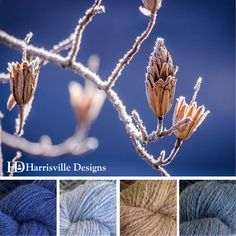 'Frosty Morning' color palette featuring flyWHEEL yarn in Aquifer, Birch Bark, Meadows and Bancroft.