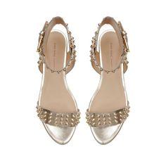 STUDDED METALLIC FLAT SANDALS - Flat sandals - Shoes - Woman   ZARA Canada