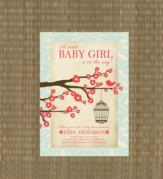 Printable Vintage Bird Baby Shower Invitation - Coral and Aqua Shabby Chic Baby Girl Shower Invite