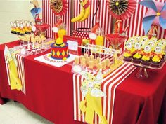 Curious George Monkey Red and Yellow First Birthday Party Dessert Table Yellow Birthday Parties, Birthday Party Desserts, Birthday Party Tables, Circus Birthday, Boy First Birthday, First Birthday Parties, First Birthdays, Birthday Ideas, Circus Party