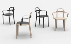 Woodnotes's Milano designweek 2016 novelty chair SIRO WITH ARMREST design Ilkka Suppanen and Raffaella Mangiarotti. Oak frame with leather upholstered armrest. Wishbone Chair, Chairs, Cool Stuff, Studio, Frame, Interior, Table, Leather, Furniture