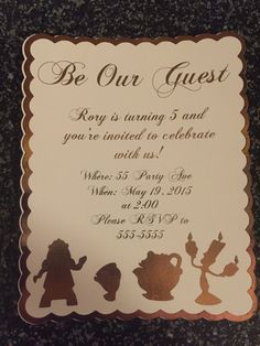 Beauty and the Beast invitations; Be our guest invitiations by DesignsByRory on Etsy
