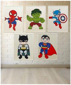 Láminas de superhéroes para decorar las paredes de la habitación de los niños. Su personajes favoritos en versión lámina lista para enmarcar y colgar.