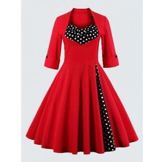 Plus Size Vintage Polka Dot Dress (£16) ❤ liked on Polyvore featuring dresses, red polka dot dress, 3 4 length sleeve dress, plus size vintage dresses, red a line dress and red knee length dress