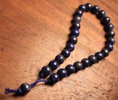 Deep Blue Lapis Wrist Mala Prayer Beads by QuietMind on Etsy, $30.00