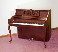Charles R. Walter Console Model 1520 Queen Anne Style Cherry Finish Brass Hardware Bench Included