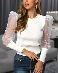 New White Drawstring Ruffle V-neck Long Sleeve Sweet Blouse Stylish Shirts, Stylish Tops, Cute Blouses, Blouses For Women, Pattern Fashion, Look Fashion, Blouse Designs, Ideias Fashion, Fashion Dresses