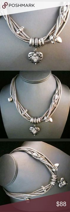 Brighton multiple strand in one necklace multiple strands make this heart with crystal accents a real statement peice. 16. but extends to 18. Brighton  Jewelry Necklaces