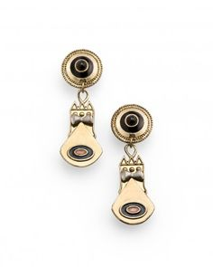 """Get inspired by the iconic designs of Vivienne Westwood and take on this season's Anglomania trend. These antique, gold-plated earrings capture Westwood's innovative '80s punk style. The 2 ½"""" pair features black and navy enamel detailing. Gear up for fashion's latest British invasion with this unique set!"""