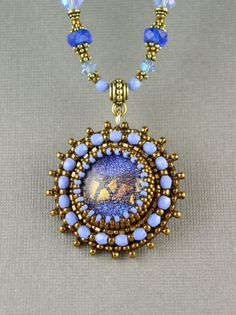 SALE  Bead Embroidered Dichroic glass Necklace door beadedartjewelry