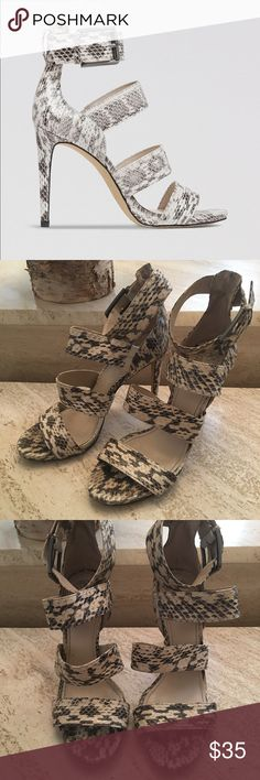 Vince Camuto snake skin heels Vince Camuto snake skin multi strap heels with small platform. Vince Camuto Shoes Heels