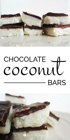 Chocolate Coconut Bars: A truly delicious grain-free, gluten-free, dairy-free, egg-free, refined sugar-free treat. They taste like mounds (or add almonds for almond joy) and are totally guilt free! Paleo Dessert, Healthy Desserts, Delicious Desserts, Dessert Recipes, Appetizer Dessert, Healthy Foods, Sugar Free Desserts, Sugar Free Recipes, Gluten Free Dairy Free Desserts