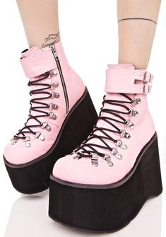 Demonia Sweetie Kera Lace-Up Platform Boots | Dolls Kill