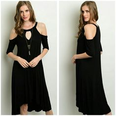NEW The Mia Dress Sizes S M L Beautiful open shoulder black dress hi lo style Material is rayon and viscose  Sizes available S M L  Price Firm unless bundled  Color black Dresses High Low