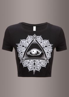 You'll have all eyes on you when you flaunt this rad tee! The black crop top features a beautiful all seeing eye print in the front. This fashion-forward cropped tee, designed in an irresistibly soft