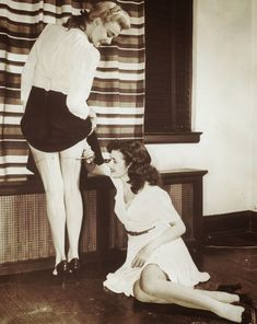 With nylon stockings scarce, women would paint their legs so it looked like stockings, 1942