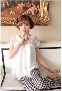 wholesale Cute Doll collar Short sleeve Chiffon T-shirt