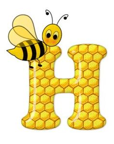 Alphabet letters bee on honeycomb. Scrapbook Letters, Bee Pictures, Cartoon Clip, Bee Party, Cute Bee, Bee Design, Bee Theme, Alphabet And Numbers, Alphabet Letters