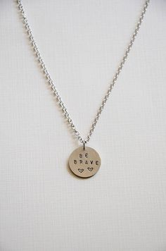 personalized hand stamped be brave necklace/ pendant necklace/