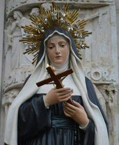 Supplica potente a Santa Rita St Rita Of Cascia, Santa Teresa, Weird, Amen, Paintings, Rose, Imagenes De Amor, Ear Rings, Hail Mary