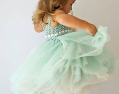SALE. Ready to ship. Pale Mint Tulle dress with stretch