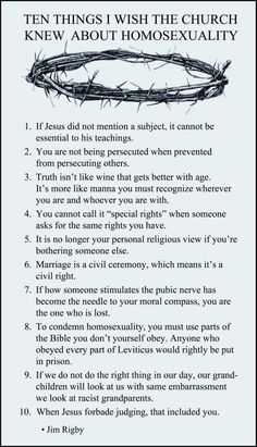 Ten Things I Wish The Church Knew About Homosexuality. #CivilRights #MarriageEquality #LGBTQ