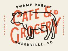 Swamp Rabbit Cafe & Grocery logo option by Jacob Boyles, lead designer at Dapper Ink Business Branding, Logo Branding, Branding Design, Western Logo, Swamp Rabbit, Cow Logo, Logo Image, Coffee Label, Identity