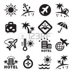pictogramme transport: Élégantes icônes de voyage ensemble créé pour mobile, des applications Web et Illustration