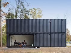 MB Architecture designed the Bard College Media Lab, a prefab building built from four recycled shipping containers. Container Home Designs, Container Cabin, Bard College, College Board, College Campus, Shipping Container Buildings, Shipping Container Homes, Shipping Containers, Container Architecture