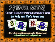 {a math activity for matching numerals to sets} Halloween Activities, Classroom Activities, Kindergarten Centers, First Grade Classroom, Number Sense, Task Cards, Math Lessons, Spiders, Bats