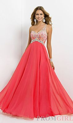 Open Back Beaded One Shoulder Gown by Blush 9726 at PromGirl.com
