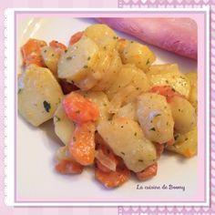 La cancoillotte mélangée aux pommes de terre et carottes c'est juste trop bon Pour 4 pers / 3 pp par pers pour une portion de 215 gr 400 gr de pommes de terre 400 gr de carottes ½ oignon sel, poivre persil 1 cœur de bouillon de légumes 60 gr de cancoillotte...
