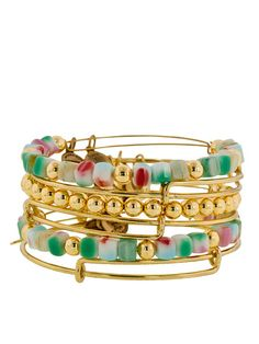 Set Of 6 Gold & Vintage Beaded Bangles by Alex & Ani on http://www.gilt.com/invite/fashionistas