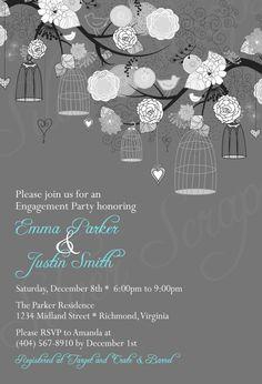 Black and White Birdcages, Birds, Flowers -Custom Digital Rehearsal Dinner Wedding Shower Engagement Anniversary Party Invitation -4 Designs