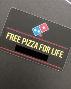 My friend has a free pizza for life Dominos card (yes it actually works) Give Away Free Stuff, It Works, Pizza, Pets, Friends, Funny, Cards, Life, Amigos
