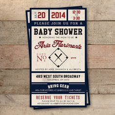 Baseball Ticket Baby Shower Invitation - Personalized, Boy or Girl, Printable Digital File. This invitation is perfect for a baseball or sports themed baby shower!