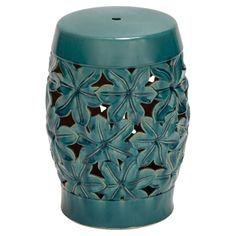 Indoor/outdoor ceramic garden stool with an openwork floral design. Product: Garden stool Construction Material: Ceramic Color: Blue-green Features: Suitable for indoor and outdoor useFloral design Dimensions: H x Diameter Ceramic Stool, Ceramic Garden Stools, Ceramic Table, Living Tv, Living Room, Living Area, Living Spaces, Rustic Stools, Flora Garden
