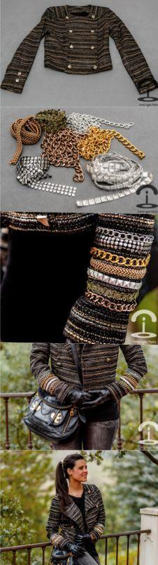 DIY Embellished tweed jacket - chains - studds - Crimenes de la Moda - chaqueta tweed customizada con cadenas y tachuelas