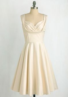 Aisle Be There Dress in Ivory by Trashy Diva - Special Occasion, Wedding, Pinup, Vintage Inspired, 40s, 50s, Solid, Pockets, Tank top (2 thick straps), White, Prom, Fit & Flare, Long, Bride, Full-Size Run